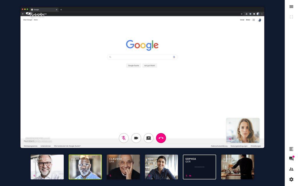 Bildschirm teilen Videocall. Echtzeitübersetzung Deutsch Englisch Virtuelle Konferenz Qonda Online Meeting Livestream