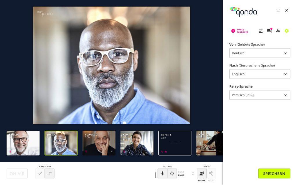 Dolmetscherpult Virtuelle Konferenz Livestreaming Übersetzer Online Simultanübersetzung Dolmetshcer Hub